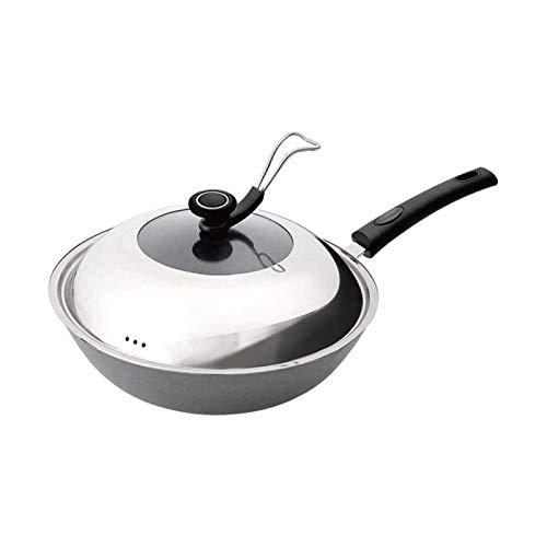 Bdesign Pentole ispessuita multifunzionale in ghisa piatto piatto piatto flat in ghisa pentola con cucchiaio da cucchiaio a induzione gas cucina antiaderente antiaderente (Size : 34cm)