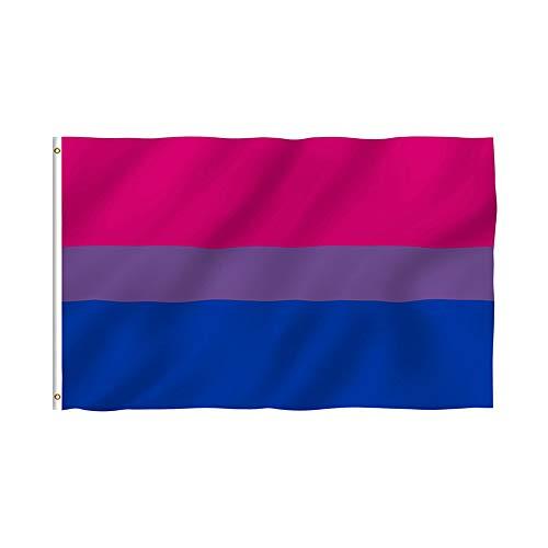Hemore - Bandera bisexual de poliéster con doble costura y ojales de latón (3 x 5 pies), color vivo y resistente a la decoloración
