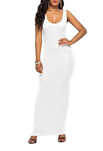 HOPES KINGDOM Women's Sexy Bodycon Sleeveless Pencil Club Tank Long Maxi Dress White