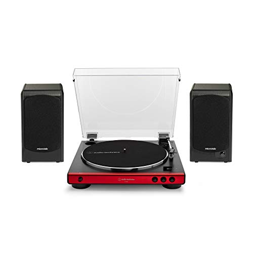 Audio Technica AT-LP60X-RD Turntable (Red) Bundle with Microlab Pro1 Powered Bookshelf Speaker Pair (2 Items)