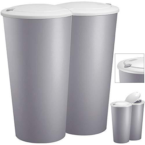 Deuba Mülleimer Duo Grau 50L Abfalleimer Doppelmülleimer 2fach Trennsystem Druckknopf Automatik Küche Bad Büro