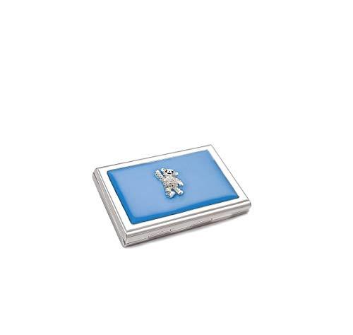 ba bijou-art Kartenetui Damen Geldbörse Blau 101 Kristalle von Swarovski® Emaille Metall Edelstahl