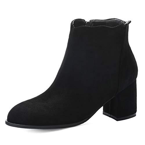 Ork Tree Damen Stiefeletten Blockabsatz Chelsea Boots Wildleder 6.5cm Damen Ankle Boots Winterstiefel Schuhe, Schwarz, 38 EU
