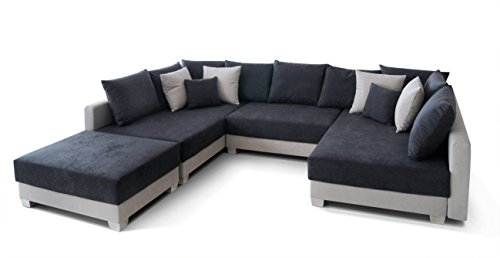 Collection AB 150274 Antiebes Wohnlandschaft in U-Form Ecksofa, Microvelour, 169 x 312 x 90 cm, hellgrau/anthrazit