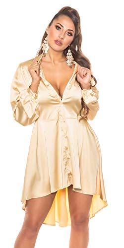 Koucla High-Low Damen Kleid Party Seidenlook Minikleid (Gold, L)