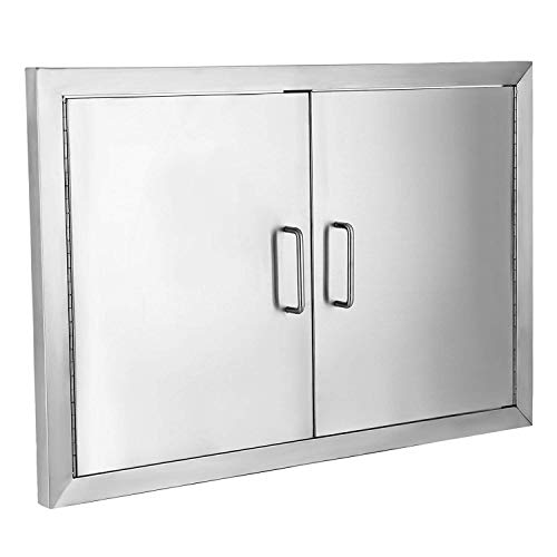 Buoqua 48.3x71.1cm Kamintür putztür Brenner Gas Grill BBQ Tür Edelstahl Double Access Walled BBQ Door Access Flush für Outdoor-Küche oder BBQ Island