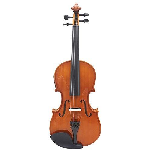 LOIKHGV 4/4 Elektroakustisches EQ-Geigen-Geigen-Kit in voller Größe Vollmattes Fichten-Frontbrett 4-saitig mit Gehäuse Kolophoniumkabel, naturbraun