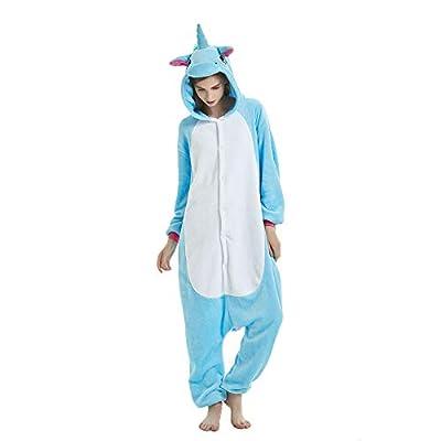 KiKa Monkey Niños Unicornio de Dibujos Animados de Franela Animal Novedad Disfraces Cosplay Pijama (L, Azul)