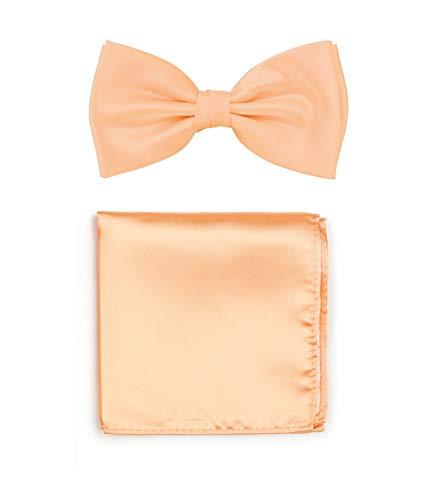 PUCCINI Uni Fliegen Set mit Einstecktuch, einfarbiges Set mit Herrenfliege (Fliege, Bow Tie) und Einstecktuch für Hochzeit & festliche Anlässe (Apricot)