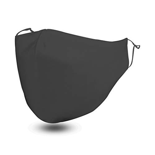 Stoffmaske | Behelfsmaske | Alltagsmaske | Maske aus Stoff - waschbar, wiederverwendbar mit verstellbaren Gummibänder und Filterfach | Gut zu atmen - Innen Baumwolle, außen Polyester (Schwarz)