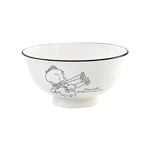 12LYN Tazón para hornear de los niños Dibujos animados creativos Bocadillo lindo Tazón de cerámica Tazón de avena Tazón de arroz Tazón de fondo plano Tazón de plato Tazón de fuente Plato de salsa Sals