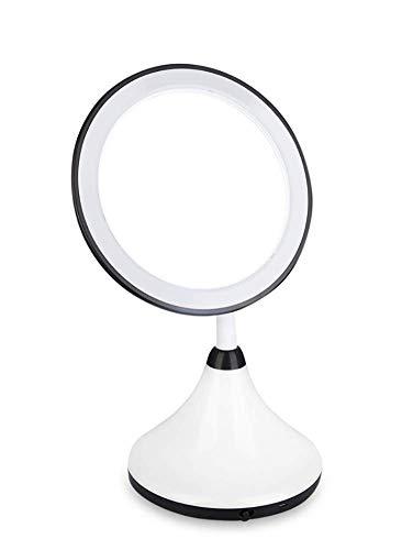 LED Make Up Mirror avec lumière naturelle USB pivotant rechargeable Portable Voyage cosmétique maquillage miroir miroir de rasage pour les cadeaux,Black