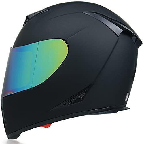 Tbagem-Yjr Casco de Motocicleta, Casco de Moto de Casco de Cara Completa Flip con visores Anti-Niebla a Prueba de Lluvia ECE Aprobado en Negro M-XXL (Color : Black, Size : L)