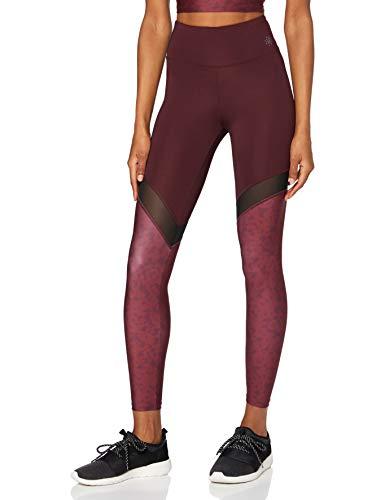 AURIQUE Damen Yoga-Leggings mit Mesh-Einsätzen, Mehrfarbig (Port Floral Print), 34, Label:XS