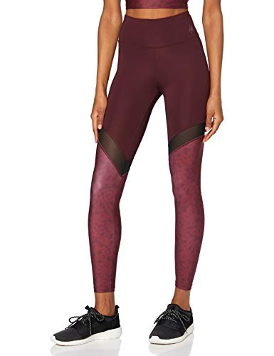 AURIQUE Mallas de Deporte Yoga con Panel de Rejilla Mujer, Multicolor (Port Floral Print), 36, Label:XS