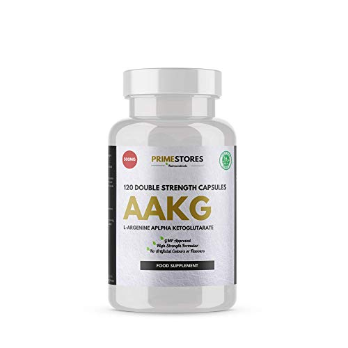 Arginine Alpha Ketoglutarate (AAKG) - 120 Preworkout Powder Capsules - High Strength Halal Workout Energy Supplements by Primestores