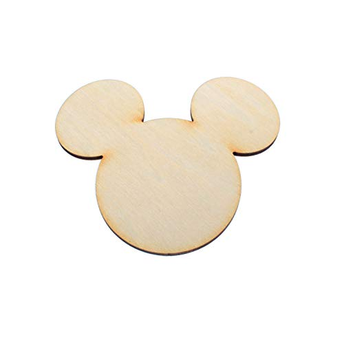 yuhoshop Wooden Mickey Mouse Head 5pcs 5' (Wide Ear to Ear) X 1/8' inch Plain Unfinished Wood Cutouts for Embellishment,DIY Wedding Guestbook Sign