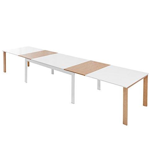 Ausziehbarer XXL Design Esstisch Continental 180-420 cm edelmatt weiß Eiche ausziehbar Massivholz mit Einlegeplatten Tisch