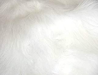 CRS Fur Fabrics Diversión de Pelo Largo Pelo sintético Tejido Material–Blanco Brillante