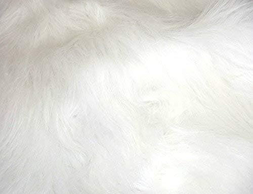 CRS Fur Fabrics Lungo Mucchio Divertimento Finta Pelliccia Tessuto Materiale–Luminoso Bianco