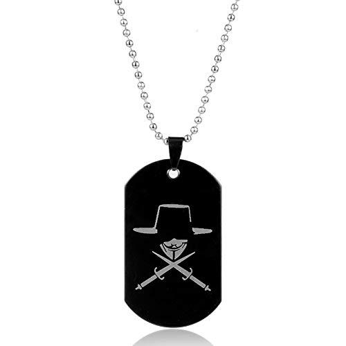 La Serie Di FilmVRappresenta La Collana Di Vendetta In Acciaio Inossidabile Black Dog Tag Fox Double Sword Pendant Men Anonymous Collana Regalo
