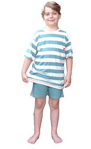 Moonline Jungen Pyjama,140,Grün/Offwhite