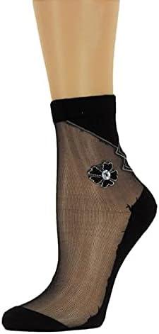 Five Leaf Petal Sheer Socks,,100% Nylon Sheer Socks - Breathable and Lightweight Summer Ankle Socks for Women, Custom Socks with Beads