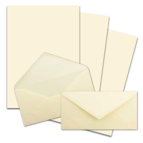 25x Briefpapier Set DIN A4 mit DIN Lang Briefumschlägen, Nassklebung - Creme-Vanille - mattes Schreibpapier mit Kuverts - FarbenFroh by GUSTAV NEUSER