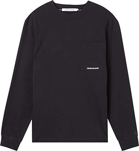 Calvin Klein Jeans Micro Branding LS Pocket Tee T-Shirt, CK Nero, M Uomo