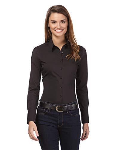 Vincenzo Boretti Damen Bluse besonders tailliert mit Stretch Langarm Hemdbluse elegant festlich Kent-Kragen auch für Business und unter Pullover schwarz 34