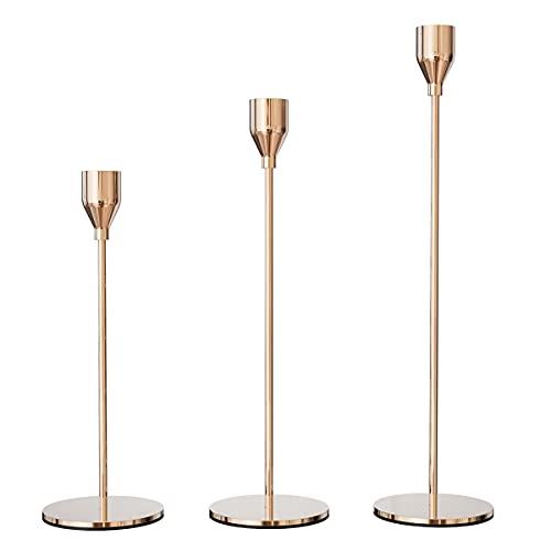 VOFANK Kerzenständer 3 Stück, Kerzenständer Gold für Abendessen bei Kerzenlicht, Wohnzimmer Schlafzimmer Vintage Deko, Kerzenhalter Metall 24/29/34cm