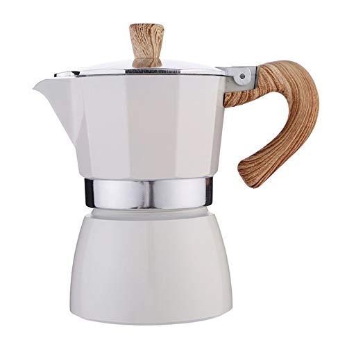 Fenteer Estufa de Cocina, Cafetera Espresso para Café Expreso con Sabor Fuerte, Cafetera Portátil de Aluminio, Olla de Moca para Oficina en Casa - Blanco 150ml, Individual