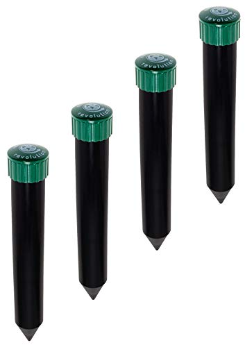 Reusable Revolution 4 Pack Sonic Mole Chaser - Battery Operated Pest Repeller Stake, Scares Away Moles, Voles, Gophers and Rats (Green & Black)