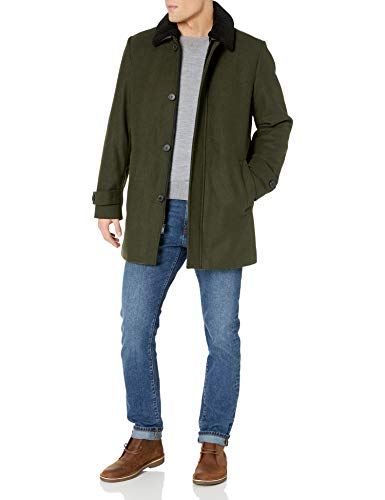 DKNY Men's Wool Blend Walking Coat with Removable Sherpa Collar, Olive, Large