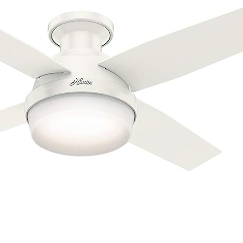 Hunter Fan 44 inch Contemporary Low Profile White Ceiling Fan with LED Light Kit and Remote Control (Renewed)