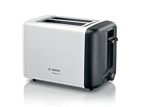 Bosch TAT3P421DE DesignLine Kompakt-Toaster, Auftau/Aufwärmfunktion, versenkbarer Brötchenaufsatz, Abschaltautomatik, 970 W, weiß
