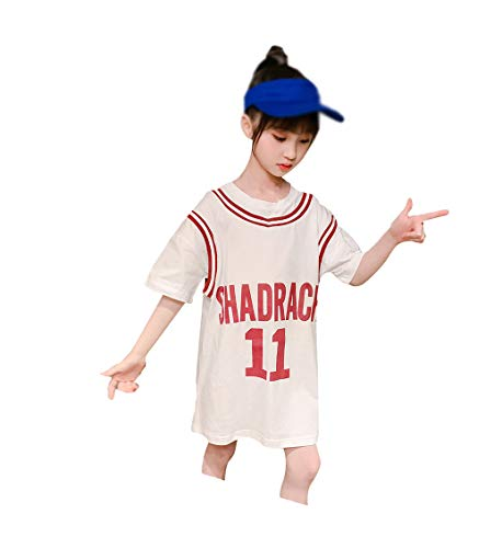 Kurzärmliges T-Shirt-Kleid für Mädchen, mittellange Basketballuniform, halbärmeliges Mädchenkleid, Sport- und Freizeit-Tunika-White-160