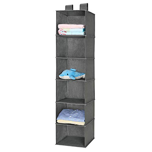 MaidMAX 6 Tiers Cloth Hanging Shelf for Closet Organizer with 2 Widen Straps, Foldable, Grey, 51.5 Inches High