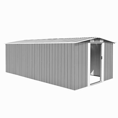 *vidaXL Gerätehaus 257x497x178cm Metall Grau Geräteschuppen Schuppen Gartenhaus*