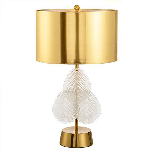 XINKONG Lámpara American Crystal Glass lámpara de Lectura de la Hoja de Dormitorio Mesita de luz de la lámpara de la lámpara de Escritorio de Oficina (Color : Gold Lampshade)