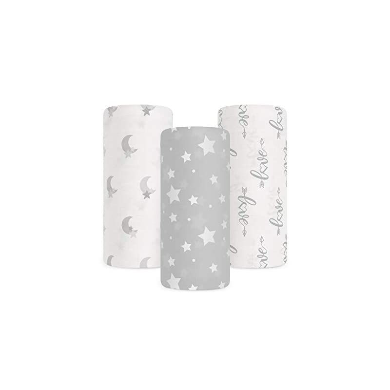 crib bedding and baby bedding babebay baby muslin swaddle blanket, 3-pack unisex bamboo swaddle blanket boys & girl, soft silky swaddling blankets wrap for newborn infant, large 47 x 47 inches, set of 3 -moon, stars and love