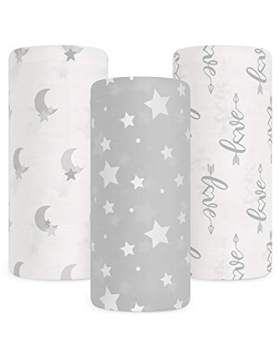 Babebay Baby Muslin Swaddle Blanket 3Pack Unisex Bamboo Swaddle Blanket Boys amp Girl Soft Silky Swaddling Blankets Wrap for Newborn Infant Large 47 x 47 inches Set of 3 Moon Stars and Love