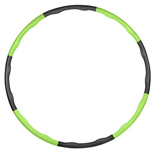 Mture Hula Hoop zur Gewichtsreduktion, Einstellbares Breit und Gewicht Hula-Hoop-Reife mit hohe qualität Schaumstoff für Fitness und milde Massage, Geeignet für Erwachsene und Kinder (Grau Grün)
