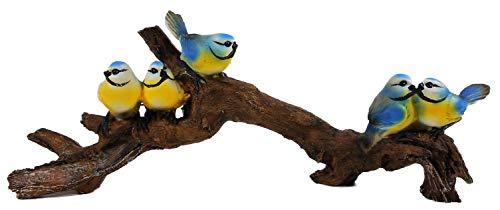 5 Blaumeisen auf AST 12 x 24 cm Vogel Meise Blaumeise Tier Figur Deko GG 7832
