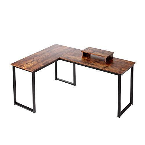 HEEYUE Computer Desk, L Shaped Desk with Large Desktop, Corner Desk with Monitor Stand PC Laptop...