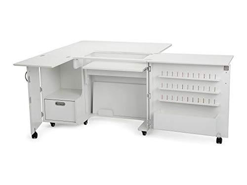 Kangaroo Sewing Furniture Wallaby II Cabinet - Ash White, with FREE Daylight Slimline 3 Lamp