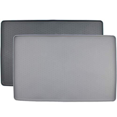 MIHOO Napfunterlage aus Silikon für Katze oder Hund 48x30cm (Grau)