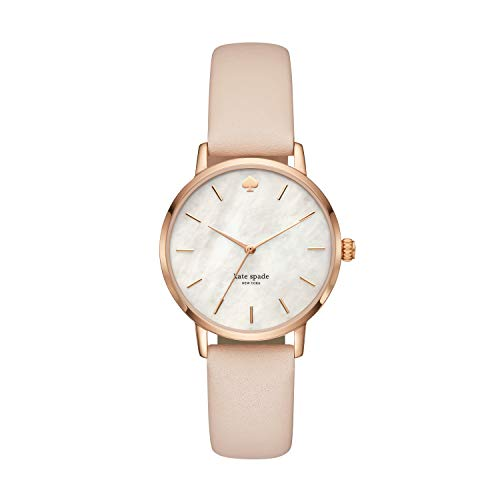 Kate Spade New York Women's Metro Quartz Stainless Steel, Leather Mother of Pearl Watch, Color: Rose Gold, Beige MOP (Model: KSW1403)