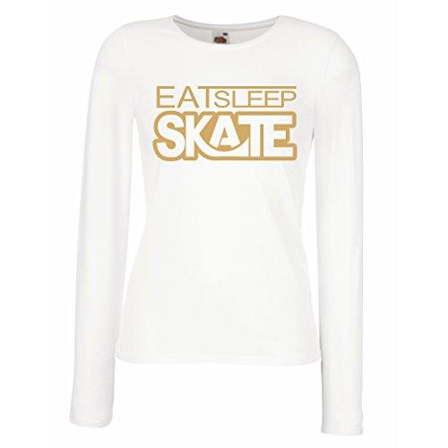 lepni.me Camisetas de Manga Larga para Mujer Coma - sueño - patín - para los Patinadores, skateboardboard, Skateboard Gifts (Small Blanco Oro)