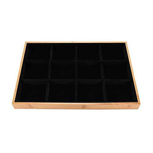 DIYARTS Schmuck Display Tablett Stapelbar Schmuck Organizer 24 * 35 cm Ohrring Fach Schublade Platte Bambus Halskette Halter Armband Ring Aufbewahrungsbox (B)